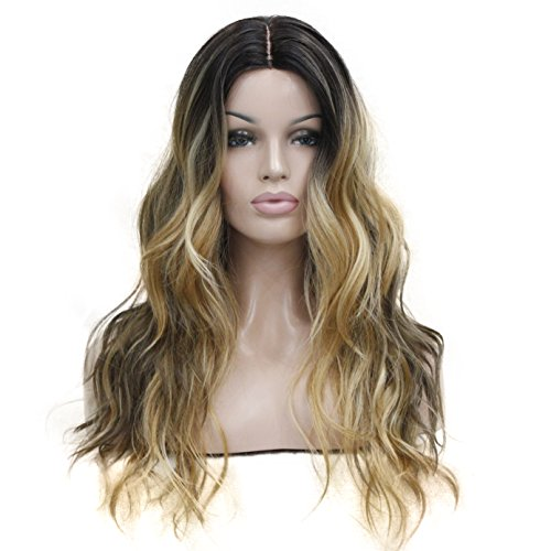 (Women's Ombre Wigs Synthetic Natural Long Wavy Brown/Blonde Highlights Full Wig 7 Color (#AB794 Blonde Brown))