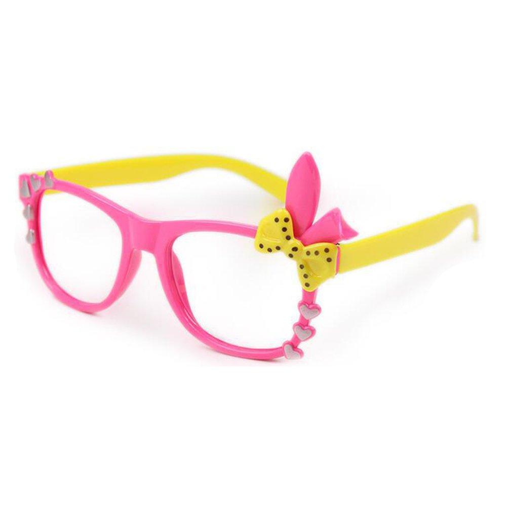 juqilu Bambini Retrò Occhiali - No Lenti Bowknot Sveglio 3D Occhiali in Plastica Montatura con Occhiali Caso per Ragazze Ragazzi X170929ETYJJ0907-lu