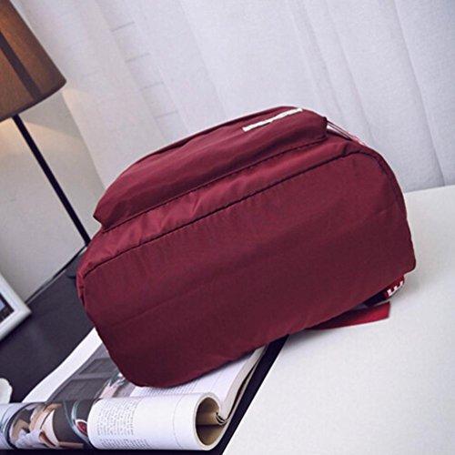 Clode® Mochila de hombro chicas chicos letra escuela Bolsa viaje mochila mochila mujer Rojo