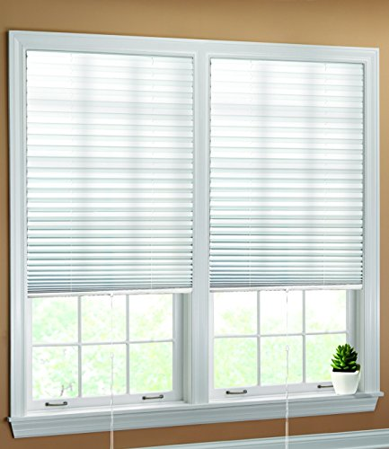 "Luxr Blinds Pleated Fabric Shades with Easy Pull Cord Operation: Quick Fix Installation Light Filtering Blinds- White, 4 Pack, 48""x72"" - Easy Operation"