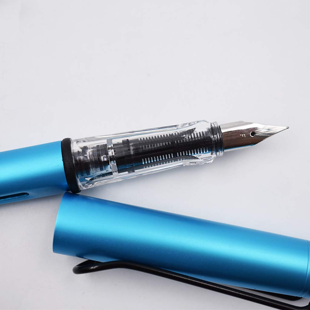 Xeminor Fountain Pen Metal Aluminum Rod Fountain Pen Student Practice Fountain Pen Stationery Gift 0.5mm Blue 1 Pcs by Xeminor (Image #4)
