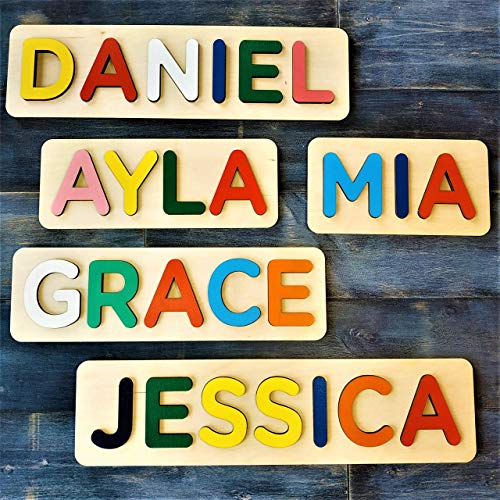 WOOD LAND Wooden Personalized Name Puzzle, Gift for Baby Boy and Baby Girl, Puzzles Child's Name, Free Engrave Message on the Back