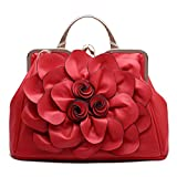SUNROLAN Women's Evening Clutches Handbags Formal Party Wallets Wedding Purses Wristlets Ethnic Totes Satchel (Red)