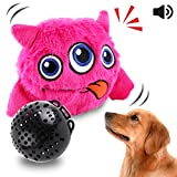 OAKZIP Dog Toys Interactive Plush Squeak Giggle Ball Automatic Shake Crazy Bouncer Toys for Puppy Motorized Exercise Electronic Toy Entertainment for Pets Pink