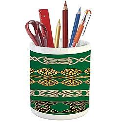 Pencil Pen Holder,Irish,Printed Ceramic Pencil Pen Holder for Desk Office Accessory,Ethnic Religious Traditional Ornaments Inticate Borders Spiral Tribal Antique Art Decorative