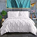 Cal King Duvet Cover ASHLEYRIVER 3 Piece Luxurious Pinch Pleated Cal King Duvet Cover with Zipper & Corner Ties 100% 120 g Microfiber Cal King Duvet Cover Set(California King White)
