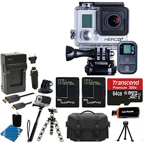GoPro HERO3+ Black Edition Camera HD Camcorder + 2 Extended Batteries with Charger + 6 FT HDMI Cable + Gripster III Flexible + Monopod With 64GB MicroSDXC Class10 And Much More Complete Deluxe Accessory Bundle by PHOTO4LESS