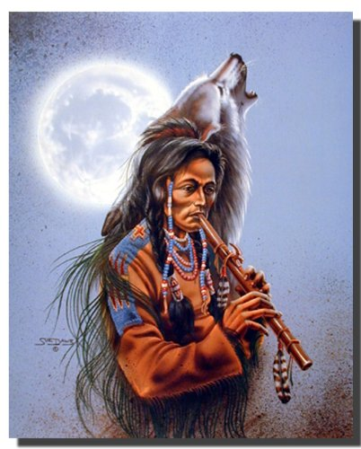 Tribal Wolf Song Native American Wall Decor Art Print Poster