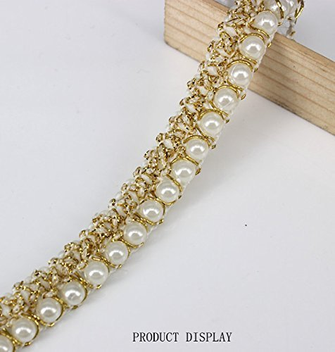 (5yards Beaded Pearl White Gold Trimming Lace Ribbon Trim Scrapbooking Applique Embellishment Sewing Renda for Wedding Dress)
