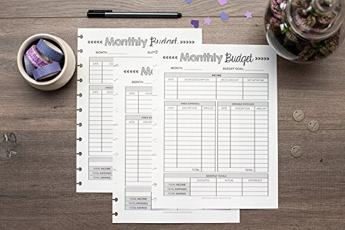 monthly budget forms for letter sized disc bound planners fits 85x11