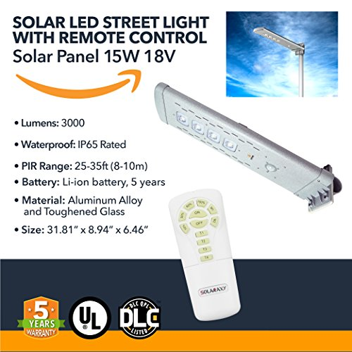 Solar Powered LED Street Light - Remote Control Pathway LED Lights - 3000Lm
