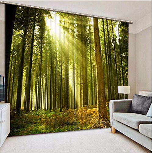 ATR Tree Forest Theam Curtain Polyester Cotton Curtains for Living Room Hotel Bedroom Curtains Custom Hook Curtain 215X260CM -