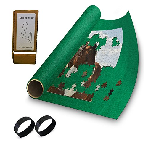 """Puzzle Buddy - Jigsaw Puzzle Roll Up Puzzle Mat - Felt Puzzle Storage Mat Comes with a Puzzle Box Stand - 100% Made in the USA (42"""" x 24"""") - Fits up to 1500 pieces"""