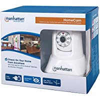 MANHATTAN 551359 Home Cam Includes HomeCam App for Mobile Phone, Connects with Wifi, Integrated Mic & Speaker, Day/night Vision, Pan, Tilt & Digital Zoom(White)
