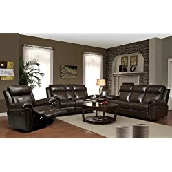 3 Pc. Two tone Brown bonded Leather Match Gideon Standard Motion Reclining Sofa, Recliner and Loveseat W/ Console Set. Gideon Collection