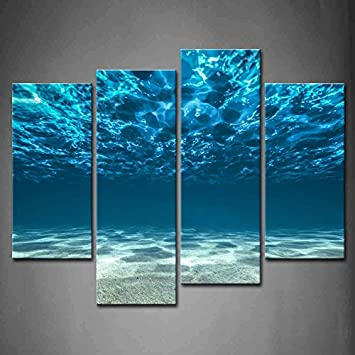4 Panel Wall Art Blue Ocean Bottom View Beneath Surface Painting The Picture Print On Canvas Seascape Pictures For Home Decor Decoration Gift piece Stretched By Wooden Frame,Ready To Hang