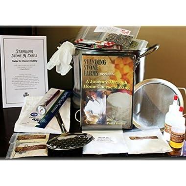 Standing Stone Farms  Complete  DIY Cheese Making Kit PLUS DVD - Equipment & Ingredients! Feta, Chevre, Mozzarella, Burrata, Burricotta, Cheddar Cheese Curds, Ricotta, Monterey Jack, Cream Cheese and Butter!