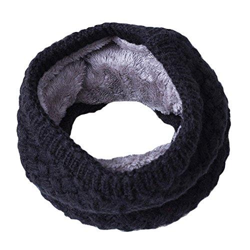 Trenton Fashion - Bufanda de lana suave térmica para el cuello de invierno para mujeres y hombres, Negro, Talla única