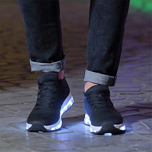 Huan Led Coppie Scarpe Led Luci Scarpe, Scarpe Amante Usb Ricarica Tacco Piatto Comfort Punta Rotonda Moda Sneakers Casual E