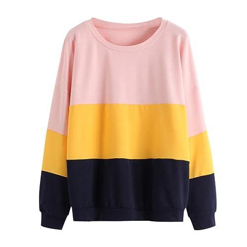 K-youth® Sudadera Mujer Tumblr Otoño Blusa Tops Patchwork Sweatshirt (Rosa, L)