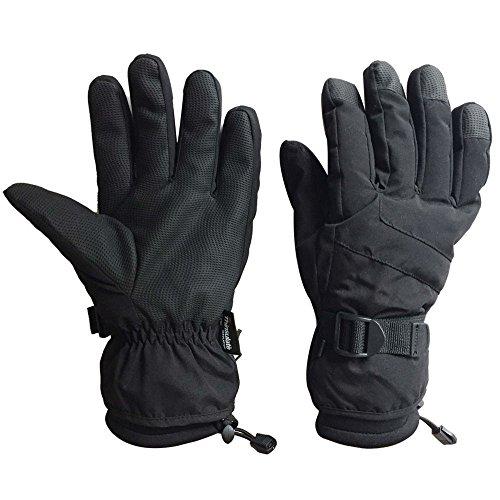 Black Men Waterproof Thinsulate Winter Cold Weather Ski Snowboard Gloves (L) (Waterproof Mens Ski Glove)