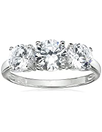 Sterling Silver Round Cut  Three-Stone Cubic Zirconia Ring (2.3 cttw), Size 8