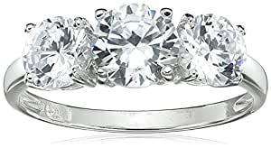 Sterling Silver 3-Stone Cubic Zirconia Ring (2.3 cttw), Size 7