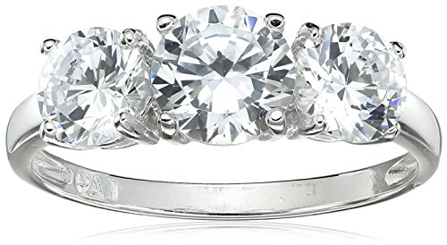 Sterling Silver Cubic Zirconia Three Stone Ring, Size 6