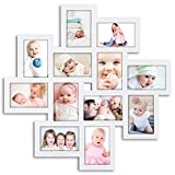 DL furniture - 12 Opening Decorative Wall Hanging Collage Puzzle Picture Photo Frame, 4 x 6 inches | White