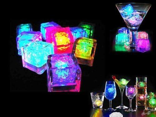 Jzhen 12 LED Eiswürfel für Getränke,Bunt leuchtende LED Eiswürfel für die Bar,Party,Hochzeit