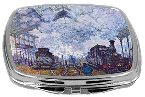 (Rikki Knight Compact Mirror, Claude Monet Art Sait Lazare Arrival of Train in Paris, 3 Ounce )
