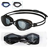 COPOZZ Competitive Swim Goggles, 3550 Racing Adult Youth Swimming Goggles With Smoke Lens-Anti Fog UV Protection No Leaking For Triathlon Competition Men Women Swimmers