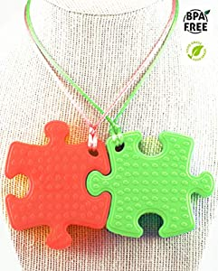 Sensory Chew Necklace Premium Strength (2 Pack) for Boys, Girls, Kids and Adults. Great for Severe Chewers Autism, ADHD, Baby Teething, Silicone Puzzle Autism, Awareness Necklace Red and Green.