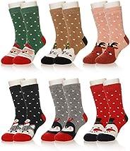 Eocom 6 Pairs Children's Winter Warm Wool Animal Crew Socks Kids Boys Girls S