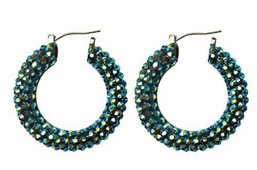 Rhinestone Hoop Earrings (Jet AB)