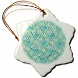 3dRose Uta Naumann Faux Glitter Pattern - Luxury Trendy Gold Mint And Teal Moroccan Arabic Quatrefoil Pattern - 3 inch Snowflake Porcelain Ornament (orn_268960_1)