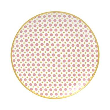 10 Strawberry Street PIRO-4-4-CORL Pirouette Salad Plate, Set of 4, White/Coral