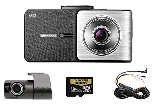 THINKWARE TW-X500D16 X500 Dual Channel Dash Cam - 1080P HD Front and Rear, 2.7 Inch LCD Display, Sony Exmor Sensor, Parking Mode, GPS, 16GB SD Card + Hardwiring Kit Included