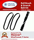 Hoover WindTunnel Replacement Vacuum Roll Brush Roller and 2-Pack Stretch Belt Kit Designed To Fit Hoover UH70120 Windtunnel T-Series Vacuum Cleaners; Compare To Hoover Roller Part # 303202001 and Belt Part # 38528058, 40201160, 562932001, AH20080; Designed and Engineered By Crucial Vacuum, Appliances for Home