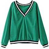 Coper New Women's Solid V-Neck Long Sleeve Sweatshirt Pullover Tops (Green, S Bust:43.3'')
