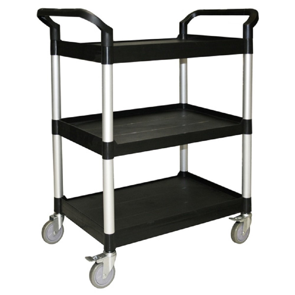 BUS CARTS BLACK & GREY MADE FOR CLEAN UP, TRANSPORT BINS WITH CASTERS AND LOCKING CASTERS (40.5'' X 19 3/4'' X 37 7/8'', Black)