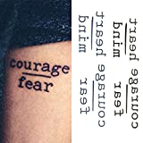 courage Oottati Small Cute Temporary Tattoo Words Quote Courage Fear Heart Mind (Set of 2)