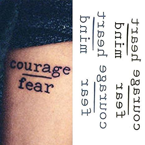 Oottati Tatuajes Temporales Inglés Courage Fear Heart Mind (Juego ...