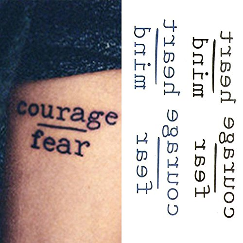 Oottati Small Cute Temporary Tattoo Words Quote Courage Fear Heart Mind (Set of 2) (Quotes Temporary Tattoos)