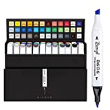 Bianyo Dual Tips Art Sketch Markers - Set of 36 Permanent Highlighters for Adults& Kids Coloring Drawing, Gift Box