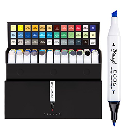 Bianyo Dual Tips Art Sketch Markers - Set of 36 Permanent Highlighters for Adults& Kids Coloring Drawing, Gift Box by Bianyo