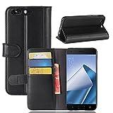Scheam Asus ZenFone 4 Pro ZS551KL Case,[ Shock Absorbent ] Cellphone Case PU Leather Kickstand Wallet Cover Durable Flip Case for Asus ZenFone 4 Pro ZS551KL Black