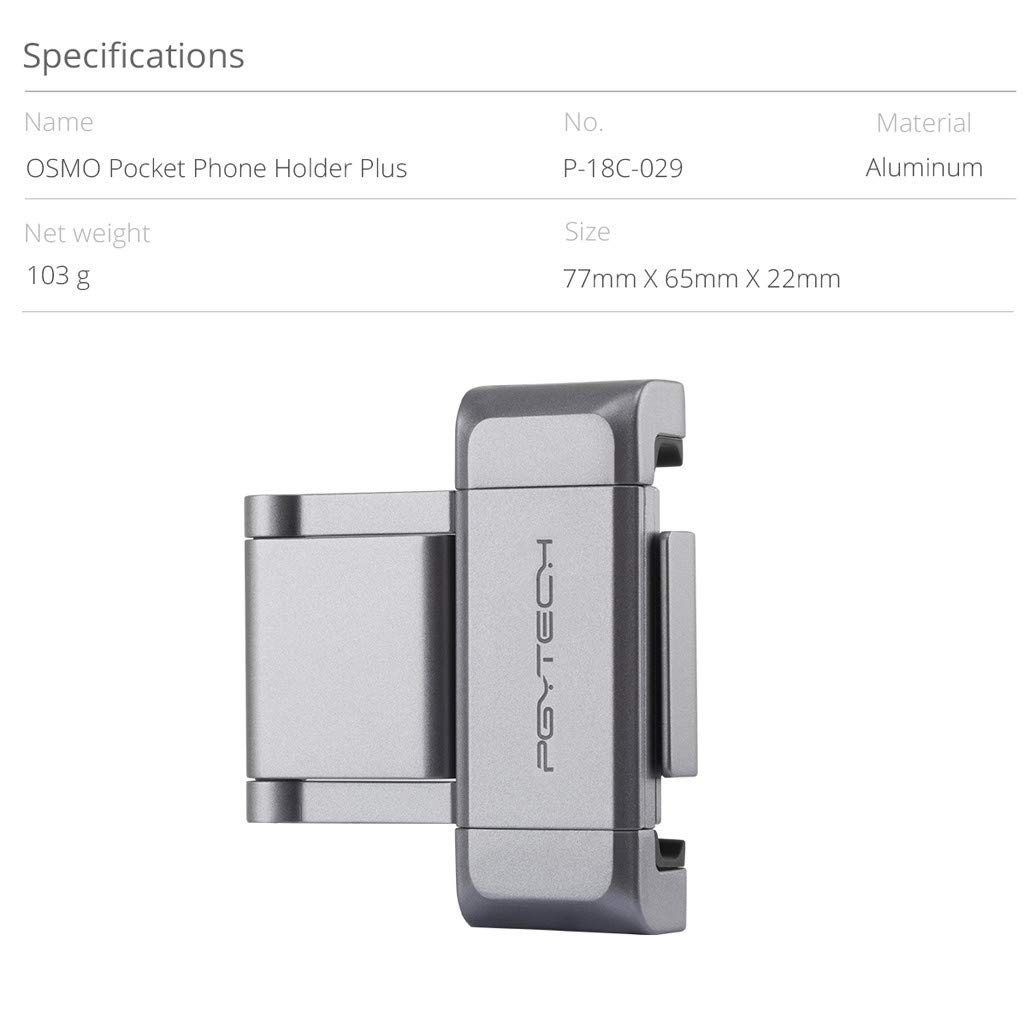 TianranRT PGYTECH Quick Release Fixing Halterung f/ür DJI OSMO Pocket Phone Holder Adapter