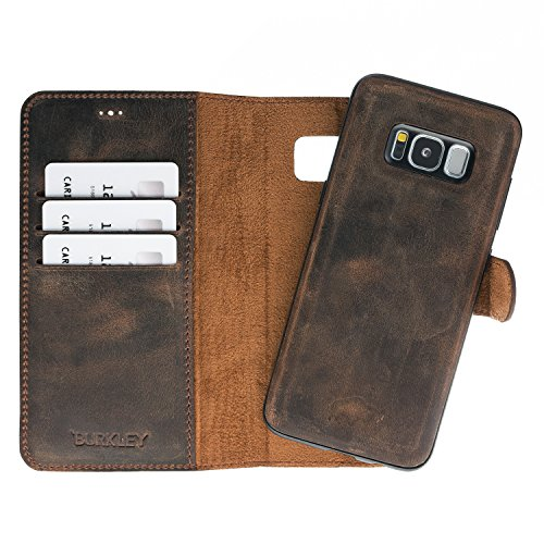 Burkley Case Magnetic Detachable Leather Wallet Folio Case with Snap-on Cover for Samsung Galaxy S8+ | Hand-wrapped in Premium Turkish Leather