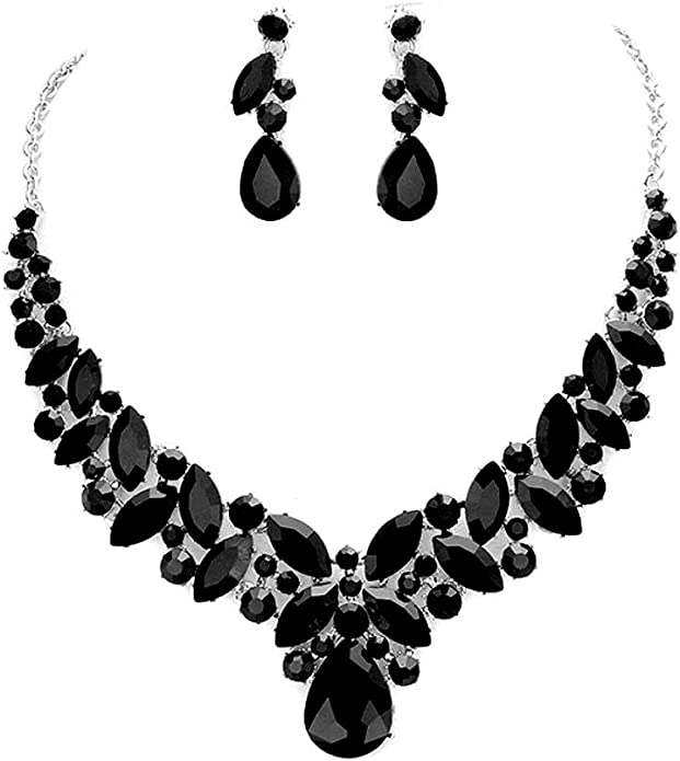 Unity II Black /& Ivory Faux Speckled Jasper Necklace Set